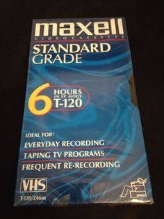 Maxell Standard Grade T-120 Blank VHS Video Cassette Tape 6 Hours New and Sealed in Consumer Electronics, TV, Video & Home Audio, TV, Video & Audio Accessories | eBay