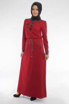 Belden Büzgülü Kırmızı Elbise  Ürün Kodu:4276K www.tesetturisland.com