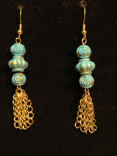 Boho Chic dangle bali style turquoise blue by UniquelyArdath, $20.00