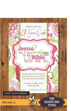 Baptism Invitation ... Jesus Loves Me Modern by TheHoneyBeePress, $15.00