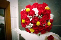 Rene's pretty red, yellow and white bouquet