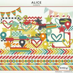 Matching the Alice range of Digital Papers - 61 clipart pieces including frames, hearts, borders, bunting, arrows, stars, washi tape strips and more.