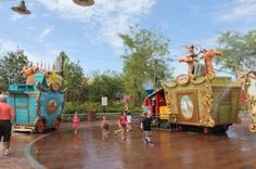 Does your child need sensory play to regulate? Splash pads at Disney World
