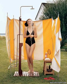 Outdoor Shower Screen   Martha Stewart Living - Rinse away grit after a beach trip -- or a wrestling match with the mower. This outdoor shower hooks right up to your garden hose (it's cold water only; for a hot-water shower, consult a plumber).