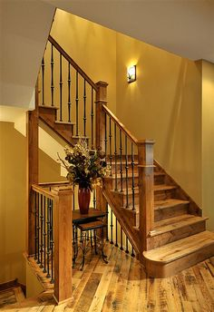 At Lake Country Builders, we Handcraft Your Vision. View our gallery of home remodeling and custom home construction projects today. Wood Railing, Stair Railing, Stairs, Railings, Pine Trim, Wood Trim, Country Builders, Wood Colors, Custom Homes