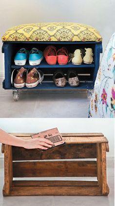 Excelente idea para reutilizar un cajón de tomates y ordenar los zapatos!