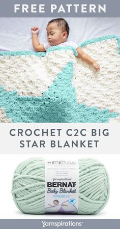 """Free Crochet C2C Big Star Blanket pattern using Bernat Baby Blanket Sparkle Yarn. For this imaginative crochet blanket, we've featured the popular and fun """"C2C"""" (corner-to-corner) graphgan technique. This boldly designed layer of warmth is an easy-level pattern featuring intarsia, colorblocking and double crochet techniques. #Yarnspirations #FreeCrochetPattern #BabyBlanket #Graphgan #Corner2Corner #BernatYarn #BernatBabyBlanketSparkleYarn Crochet C2c, Easy Crochet Blanket, Crochet Blanket Patterns, Double Crochet, Crochet Baby, Free Crochet, Afghan Patterns, Star Blanket, Blanket Yarn"""