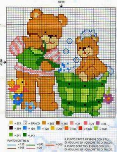 Punto croce - Schemi e Ricami gratuiti: Raccolta di schemi con orsetti per biancheria neonato