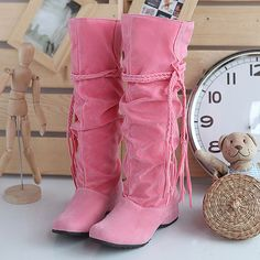 ★brand New★ Womens Shoes Mid Calf Fashion Boots Nubuck Leather Low Heels SE 1153 | eBay