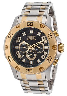 Invicta 19230 Watches,Men's Pro Diver Two-Tone Stainless Steel Black Dial, Dress Invicta Quartz Watches