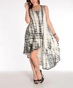Look what I found on #zulily! Black Tie-Dye Hi-Low Dress by Shoreline, $15 !!  #zulilyfinds