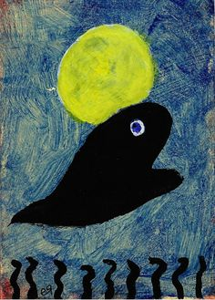 the whale that saved the moon ACEO Outsider Folk Art Brut Painting Abstract Contemporary Angst, Outsider Art, Naive, Card Sizes, Contemporary Paintings, Mystic, Folk Art, Primitive, Whale