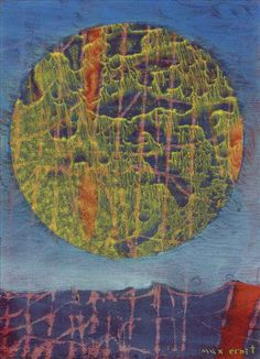 Max Ernst (French, born Germany, Le soleil sur terre, Oil on paper, 27 x 22 cm. Famous Artists, Great Artists, Karl Hofer, Ludwig Meidner, Hans Thoma, Dada Movement, Hans Richter, Francis Picabia, Rene Magritte