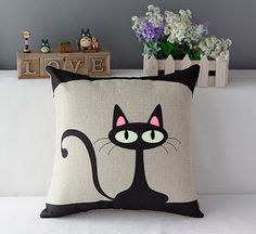 Cheap decorative car mats, Buy Quality cars birthday decorations directly from China car christmas decoration Suppliers: Universal Fashion Popular Vintage Black Cat Square Pillowcase Cotton Linen Throw Pillow Case Sofa Cushion Cover Home Car Decor Cat Cushion, Sofa Cushion Covers, Cushions On Sofa, Pillow Covers, Sewing Pillows, Diy Pillows, Linen Pillows, Printed Cushions, Decorative Cushions