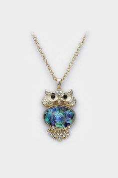 Abalone Owl Necklace