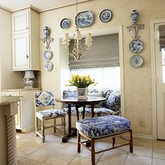 blue+white breakfast nook
