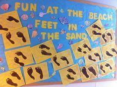 Feet In The Sand | Summer Bulletin Board Idea
