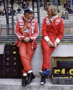Niki Lauda (Ferrari position, shares a joke with James Hunt (McLaren position, in the pits, Zolder, Belgium. Grand Prix, Gp Moto, Aryton Senna, James Hunt, Gilles Villeneuve, Formula 1 Car, Ferrari F1, Ferrari Scuderia, F1 Drivers