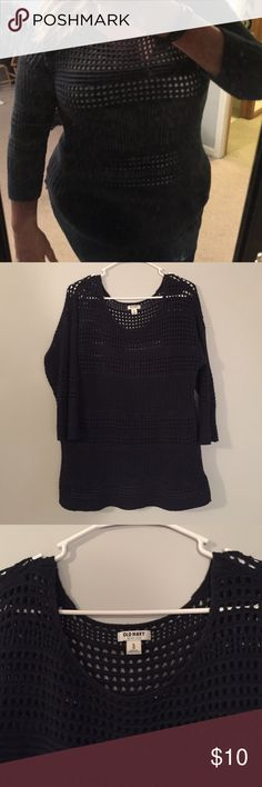 Navy Sweater See through navy sweater. Very cozy and never been worn! Very pretty design and very stretchy material. If you have any questions please ask! Old Navy Sweaters Crew & Scoop Necks