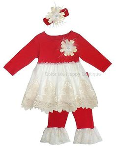 c5c10e1d1434 Peaches n Cream Baby Girls  Red Ivory Lace Top Pant   Headband Outfit