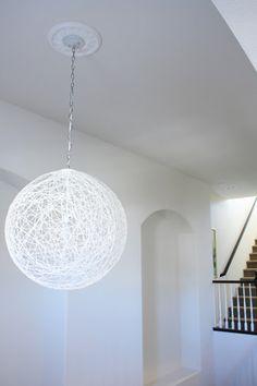 DIY white pendant globe/lamp via MadeByGirl