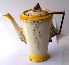 BURLEIGH WARE ART DECO ZENITH SUNSHINE PATTERN COFFEE POT | eBay China Teapot, Floral Theme, China Painting, Tea Service, Coffee Set, Coffee Travel, Pattern Art, Tea Party, Tea Cups