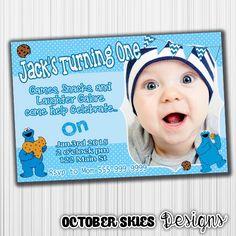 Cookie Monster Birthday Invitation, Sesame Street, Polka Dots, Printable, Announcement, Invite, Milestone, Custom,Digital, by OctoberSkiesDesigns on Etsy https://www.etsy.com/listing/236630086/cookie-monster-birthday-invitation
