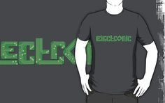 Electronic styled graphic printed circuit board PCB style on a green board t-shirt. Graphics reads Electronic. Inspired from the all the electronic components my husband accumulates. Great gift for electronic engineers, computer engineers and for anyone who likes a soldering iron and the challenge of electronics. Designed by www.sarahtrett.com