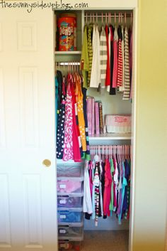 Another idea for fitting three kids worth of clothing into one closet