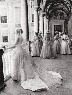 Grace Kelly and her bridesmaids - April 19, 1956. Photo by Howell Conant.