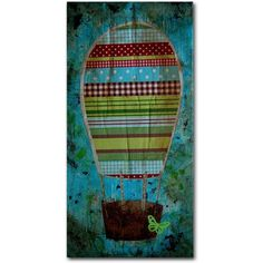 Trademark Fine Art Hot Air Balloon Butterfly Canvas Art by Nicole Dietz, Size: 16 x 32, Multicolor