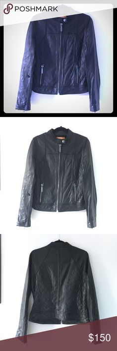 🚺 KORS MK Real Leather Moto Jacket [WOMENS] Classic Michael Kors moto jacket. This is his Kors line which features premier leather products. 💯 authentic!   Condition: EXCELLENT, preowned. A minor tear on the left sleeve (slight accident by me 😩) but overall leather is perfect.   Info: Please reference photos. Let me know if you'd like more info/pics or simply make an offer 🙂 KORS Michael Kors Jackets & Coats