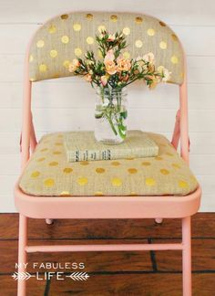 Ugly old folding chairs get a beautiful facelift with some paint and fabric. You won't even believe they're the same chairs!