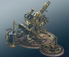 Steampunk Microscope, Tor Frick on ArtStation at https://www.artstation.com/artwork/steampunk-microscope