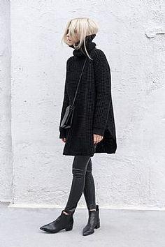 blogger must have μακρύ πουλόβερ Shania σε μαύρο