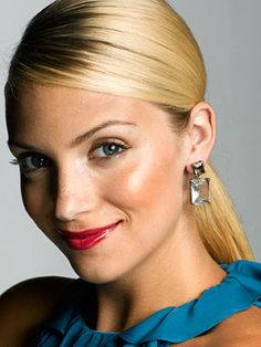 Try a sleek and shiny ponytail treated with shine serum and a side part.