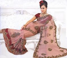Café-au-Lait Wedding Sari with Patch-work and Embroidered Sequins