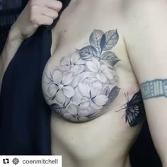 Repost @coenmitchell ・・・ All healed up - Mastectomy tattoo #flowers #tattoos #ink #breasttattoo #newzealand