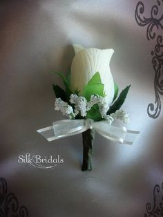 Ivory cream Rose Boutonniere Groom groomsman by SilkBridals, $3.25. Could us dark blue ribbon