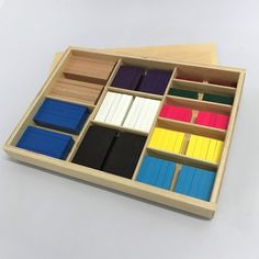 The Coloured Counting Bars correspond in length and colour to the Cubing Material.This is a transition between the bead bars and the solid material. Montessori Materials, Kids House, Wooden Boxes, Counting, Cube, Bar, Mathematics, Colour, Wood Boxes