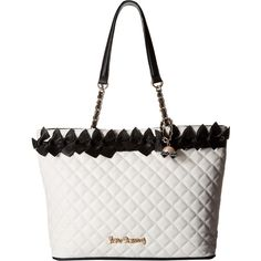Betsey Johnson Family Ties Tote (Black/White) Tote Handbags (£73) ❤ liked on Polyvore featuring bags, handbags, tote bags, black, structured tote bag, betsey johnson tote bags, quilted tote bags, black and white purse and structured tote