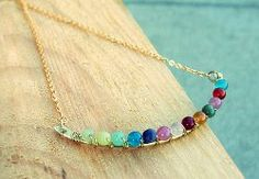 The Perched Harmonies Necklace is an Anthropologie knockoff project that is understated yet stunning. This step-by-step wire jewelry tutorial shows you how to create a gorgeous crescent of rainbow-colored glass beads to wear as a pendant.
