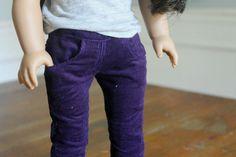 "40% OFF! Corduroy Skinny Jeans in Dark Purple for 18"" Doll"