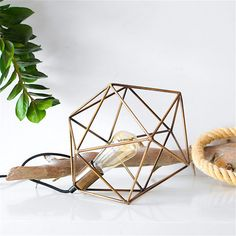 Handmade Gold Bronze Polyhedron Geometric Table by LightingAlchemy