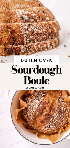 Use this easy recipe to learn how to make a classic dutch oven sourdough boule. Once you make this bread you won't be able to stop. It's perfect for breakfast toast, sandwiches, and on the side of soup. I love to eat a slice with avocado and kimchi on top. #sourdough #dutchoven #baking #bread Sourdough Bread Nutrition, Sourdough Boule Recipe, Yeast Bread Recipes, Sourdough Recipes, Healthy Homemade Bread, Homemade Rolls, Easy Homemade Recipes, Homemade Breads, Muffin Recipes