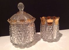 EAPG Vanity/Dresser Jar with Matching Cup on Etsy, $75.00