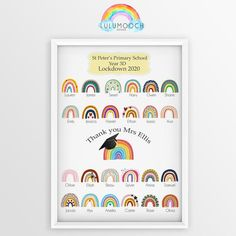 Teacher Leaving Gift Print | End of Term | Rainbow Lockdown 2020 Leavers Thank you Gift   - Thank you print for your childs teacher / teaching assistant at the end of this very strange academic year!  - Although the lockdown interfered with the childs norm - saying goodbye to their teacher will