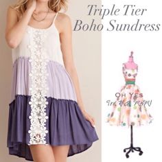 FLASH SALE❣LAST ONE- size LG❣ Boho Mini Dress NWT this beautiful multi-toned triple tiered sundress has beautiful lace detail down the center. The dress has a slip underneath so it is not see through!! The straps are adjustable for a perfect fit! ⏩Measurements:  Small: Bust 33.5-35.5 inches, dress size 4-6. Medium: Bust 36-38 inches, dress size 8-10. Large: Bust 38-40 inches, dress size 12-14. Material: 100% rayon. Throw on sandals & go!  YOU CAN directly BUY this listing or add to a bundle…