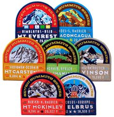 Designer Ben Noe recently completed the design of a series of seven embroidered patches for Next Level Expeditions, which illustrate the tallest summit on each continent.