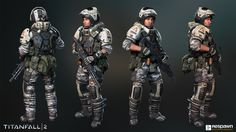 Heavy soldier used in the campaign and multiplayer modes of Titanfall 2.  Art Director: Joel Emslie  Concept Artist: Hethe Srodawa  Weapon Artists: Wonjae Kim / Ryan Lastimosa